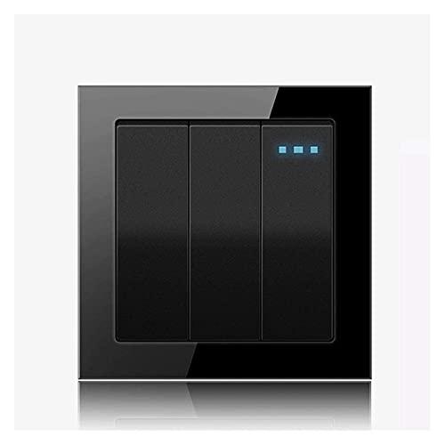 Beapet Interruptor de luz Black Rocker Blue Indicator Light Trendi Interruptor 1/2/3/4 Gang 1/2 Way Panel de conmutación para Oficina, Sala de Estar, Dormitorio, Estudio (Color : 3 Gang 1 Way)