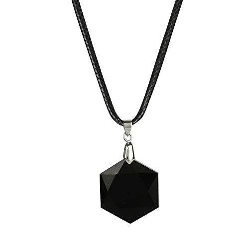 Art of Creation Collar de turmalina negra con colgante de mineral de cristal natural de piedra turmalina negra colgante de energía positiva para hombres y mujeres