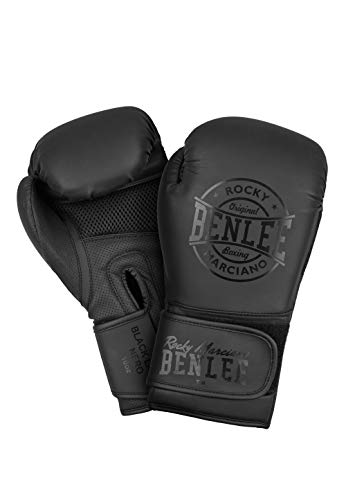 BENLEE Rocky Marciano Unisex– Erwachsene Black Label Nero Artificial Leather Boxing Gloves, 14 oz