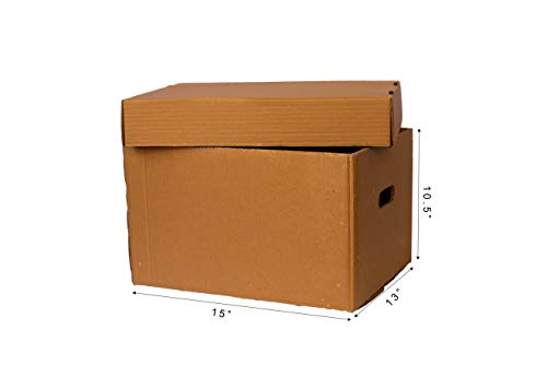 Packbox.in Brown Archive Box 5 Ply Box With Lid Top & Bottom Size : 15 X 13 X 10.5 Inch (Pack of 5 Boxes)