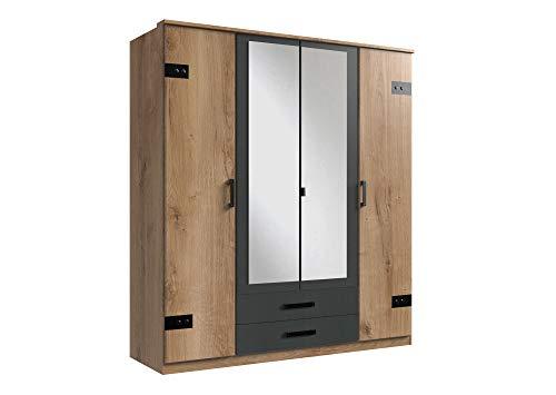 lifestyle4living Kleiderschrank mit Spiegel-Türen, Planken-Eiche Dekor, Graphit-Grau, 180 cm   Drehtürenschrank 4-türig mit 2 Schubladen im Industrial Stil