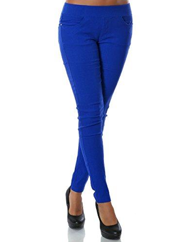 Damen Skinny Treggings Stretch Hose Stoffhose DA 14028 Farbe Blau Größe L / 40