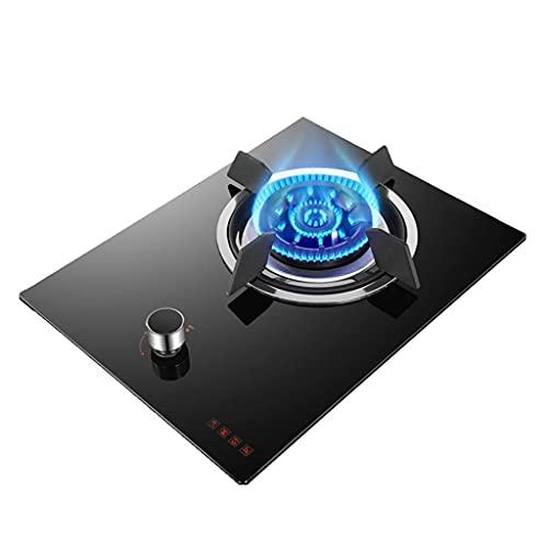 YGB Ny gasspisspis, skrivbord/inbäddad enkel gasspishäll 5,2 KW svart glasspis/spis/spishäll med flamfelskydd för uppvärmning/kokning/stekning/stekning/Simmering [Energiklass A] (färg: C)