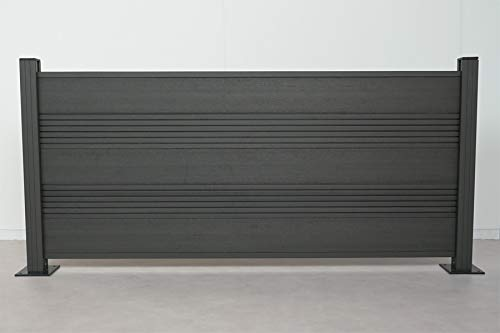 Komplettset WPC Zaun/Sichtschutz/Steckzaun, anthrazit 950 mm (Höhe) x 20 mm (Stärke) x 1800 (Breite) mm, Zaunhöhe inkl. Start und Abschlussprofil (Serie WoodoTexel)