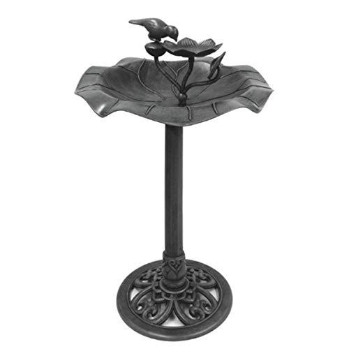 DRULINE Vogelbad Vogeltränke groß mit Standfuß Vogel Futterstelle Vogelhaus Tränke Blatt Design Dekorative Garten Tränke Bad mit Vögeln auf der Wasserschale Groß Dunkelgrau