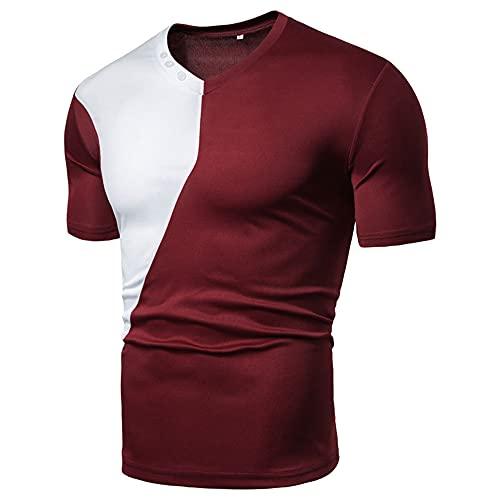 Funcional Shirt Hombre Verano Moderno Ajustado Cuello V Hombre Muscular Shirt Elástico Básico Coincidencia Color Hombre Manga Corta Casual Secado Rápido T-Shirt D-Red 3XL