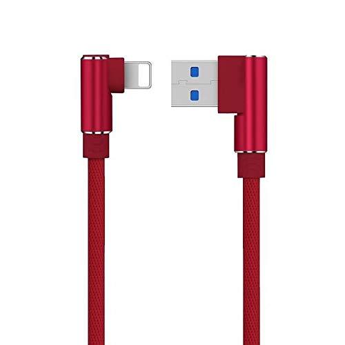 YANSHG Derecha Ángulo Rápido Cargador USB iPhone Cable 90 Grados Trenzado Nylon Rápido Datos Sincronización USB iPhone Cable por iPhone X 5 6 6P 6s 6sP 7 7P 8 8P,iPad Mini 1 2 3 4 (1M,2M,3M)
