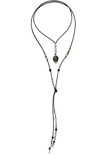 Beau Soleil Jewelry Damen Kette Lederkette mit Edelstein Anhänger Botswana Achat individuell tragbar mit Lederfransen Ibiza Style Lederschmuck Halskette Damenkette (Braun)