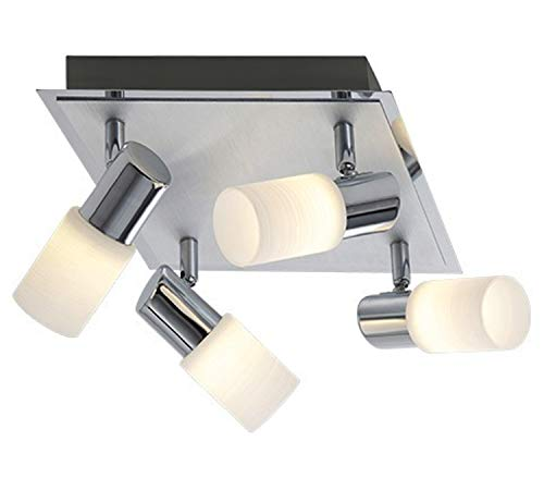 Trio-Leuchten LED-Deckenleuchte Aluminium gebürstet/chrom, Glas weiß gewischt, inklusiv 4x 5W LED, Maße: 23 x 23 cm 821430405