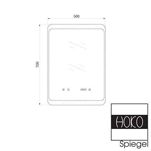 HOKO® LED Bad Spiegel beleuchtet mit Digital Uhr  ANTIBESCHLAG SPIEGELHEIZUNG Bild 6*