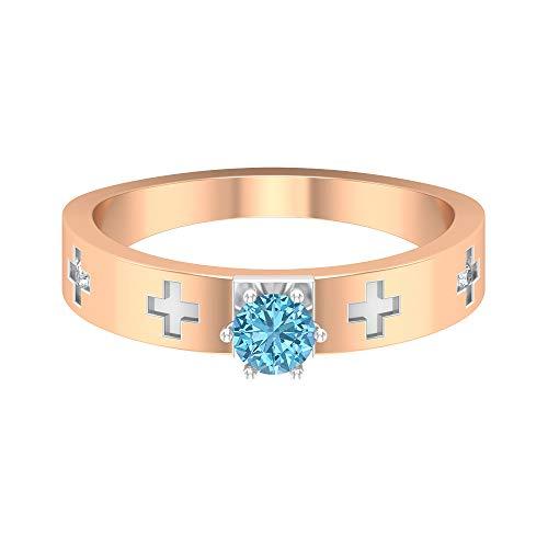 Rosec Jewels 14 quilates oro rosa redonda round-brilliant-shape H-I Diamond Aguamarina creada en laboratorio