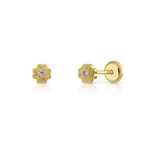 Ohrringe aus Gold 18 kt, für Babys oder Damen, Modell Mini-Quader, mit Zirkonia, Größe des Schmuckstücks 4 mm, mit Sicherheitsverschluss.