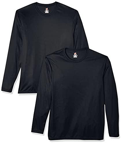 Hanes Lot de 2 T-shirts à manches longues Cool Dri UPF50+ pour homme - noir - Large
