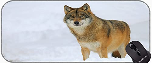 Large Gaming Mouse Pad,Snow Wildlife Predator Winter Animal Wolf Non-Slip Rubber Mousepad