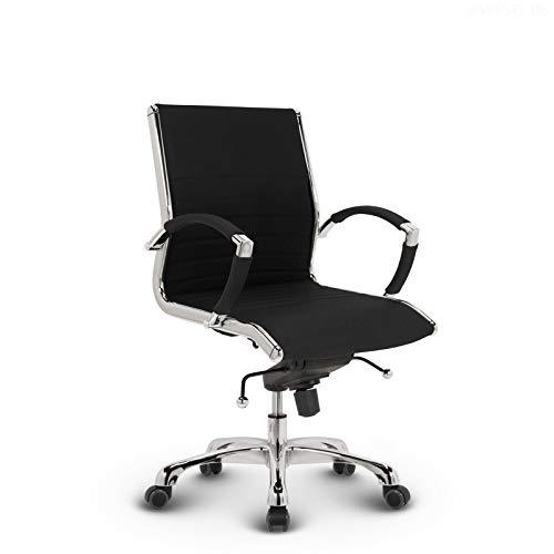 VERSEE Design Bürostuhl Montreal - Stoff - schwarz - Konferenzstuhl, Meetingstuhl, Drehstuhl, Bürodrehstuhl, Schreibtischstuhl, Designklassiker, hochwertige Verarbeitung, Stuhl, 150 kg belastbarkeit