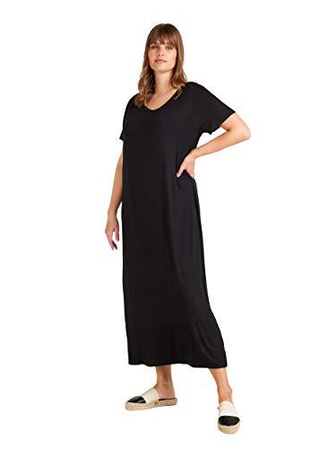 Zizzi Damen Große Größen Kleid aus Viskose mit Rundhalsausschnitt -Schwarz-46-48