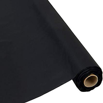 QSD Plastic Party Banquet Table Cover Roll - 300 ft. x 40 in. - Disposable Tablecloth (Black)