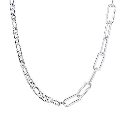 Collares Colgante Joyas Collares De Cadena para Mujer, Rectangular, Clip De Papel, Cadena De Eslabones, Collar De Cadena, Minimalista, Básico, Elegante, Joyería para Niña-Nc-753S