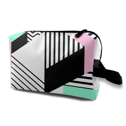 Neceser Colgante de Viaje,Colorido patrón geométrico de Memphis en Forma Abstracta Moderna Diversión Bauhaus,Organizador de Maquillaje cosmético Bolsa de higiene y Organizador de Ducha