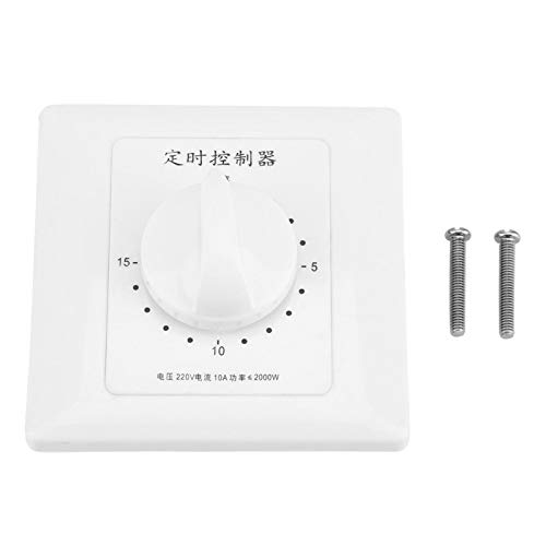 Interruptor temporizador inteligente, 220 V 15 minutos Temporizador de bomba de agua Cuenta regresiva mecánica Control de interruptor de tiempo inteligente interior