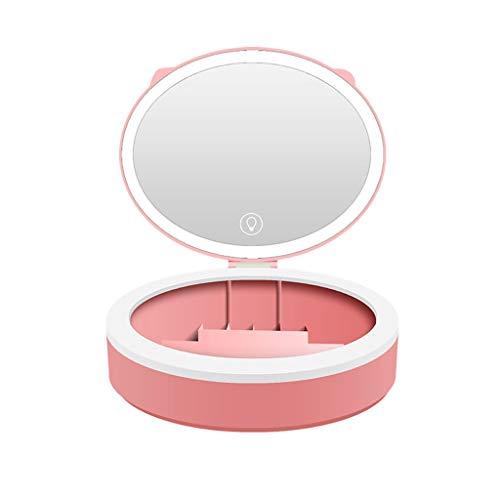 dhcsf Espejo de Maquillaje de Escritorio con Caja de Almacenamiento cosmética con Conjunto de lámpara Espejo Plegable de Maquillaje Dormitorio en Polvo (Blanco) (Color : B)