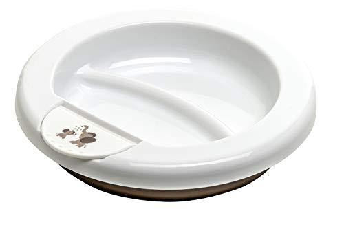 Rotho Babydesign Assiette Chauffante, Dès 6 mois, Modern Feeding, Design Modern Elephants, 20,5 x 20,5 x 4,6 cm, Blanc/Taupe Perl, 300200280CG