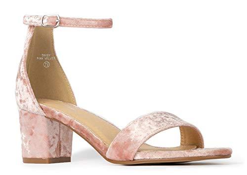J. Adams Daisy Mid Heel Sandal Pink Velvet 7 B(M) US