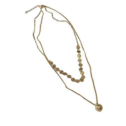 JIAQINGRNM - Collar de bolas redondas de doble capa, collar de sentimiento...