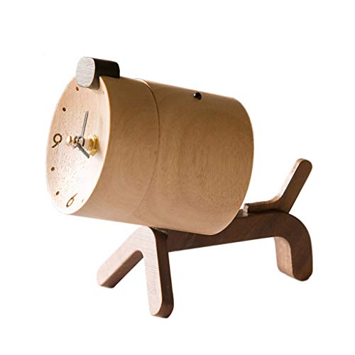 Reloj Despertador Personalidad Reloj de madera maciza Decoración Decoración moderna Creativo Lindo Reloj de madera Mute Reloj pequeño Estudiante Reloj de madera Asiento Reloj Ornamentos Reloj de Escri