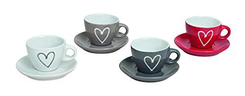 MC-Trend 4er Set Espressotassen mit Unterteller mit Herz Tasse Becher Espresso Kaffee Bistro Gastro Event Küche Kantine