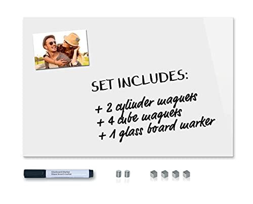 Be!Board SY487 Pizarra magnética de vidrio (60 x 40 cm) blanco puro, + 6 imanes + 1 rotulador negro