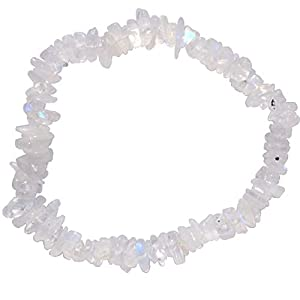 Zenergy Gems Charged Rainbow Moonstone Crystal Chip Bracelet Tumble Polished Stretchy (Reduce Stress & Tension - Cool Temper & Warm Heart Center) [Reiki]