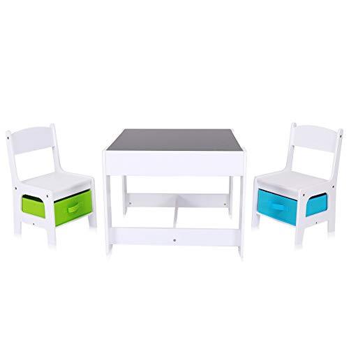 Baby Vivo Set Tavolo da attività per Bambini con 2 Sedie Cassapanca Gioco Mobili Lavagna per Pittura Fatto di Legno - Max