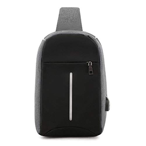 Anti-theft chest bag men's messenger bag shoulder bag men's backpack sports diagonal chest bag-gray