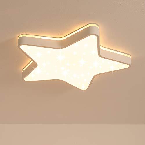 LED Deckenleuchte, funkelnder Glitzer-Stern-Lichteffekt, Ø60cm fünfzackige Stern Deckenlampe, Eingebaute 48W LED, 4800Lm, Warmweiß 3000K, Top 360° Glühen Lampe für Kinderzimmer und Schlafzimmer