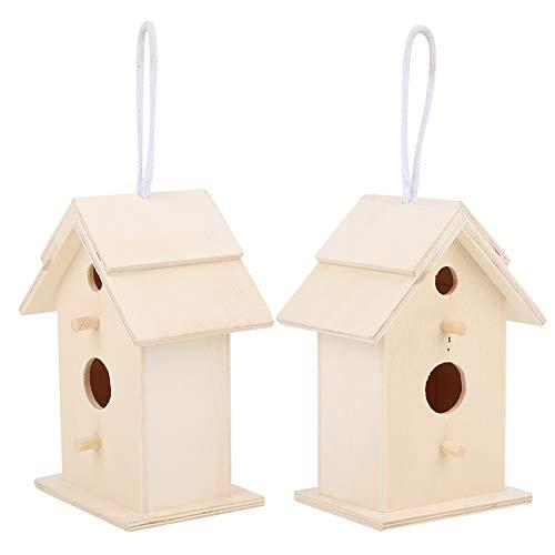 Gmkjh Casetta per Uccelli, 2 Pezzi Innovativa casetta per Uccelli da Esterno in Legno, nidificazione degli Uccelli, Gabbia per Allevamento, Ornamento da Giardino