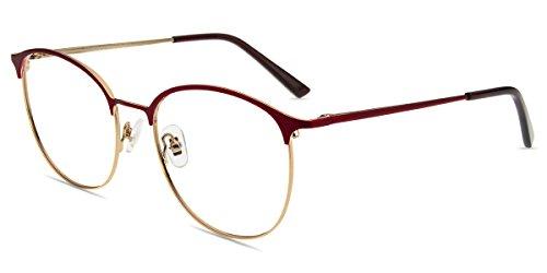 Firmoo Blaulicht Lesebrille 1.0 für Damen Herren, Blaufilter Computer Lesebrille UV400 Schutz, Browline Brille mit Sehstärke Anti Kopfschmerzen, UV Schutzbrille für Bildschirme, Rot Metallbrille