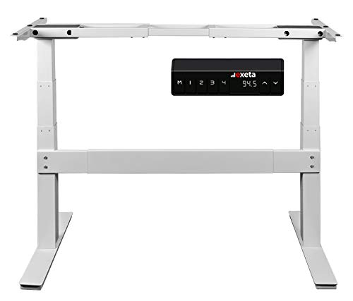 Exeta ergoSMARTPLUS Elektrisch höhenverstellbarer Schreibtisch / 2 Motoren /3-Fach-Teleskop, Querstrebe, 4-Fach Memory-Funkt. und Softstart/stopp, Tischgestell elektrisch weiß - für alle Tischplatten