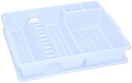 color gris plateado de 7th-AVE 43x35x9 cm pl/ástico Escurreplatos con bandeja de pl/ástico para fregadero azul