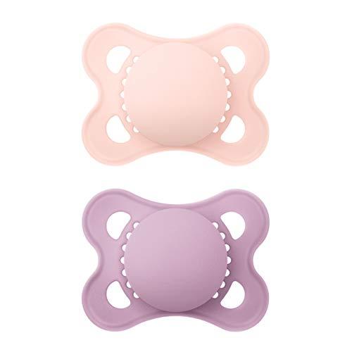 MAM Original Elements Schnuller im 2er-Set, symmetrischer und kiefergerechter Baby Schnuller aus Naturkautschuk, stillfreundliche Form, mit Schnullerbox, 0-6 Monate, rosa/lilau
