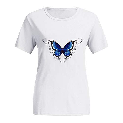 Dicomi Women Short Sleeve T-Shirt Fashion Printed Plus Size O-Neck Butterfly Print Graphic Tee Tops Blue