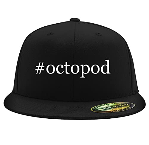 #Octopod - Flexfit 6210 Structured Flat Bill Fitted Hat, Black, Large/X-Large