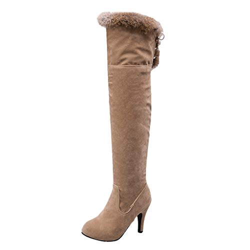 LONGDAY✿ Women's Strappy Lace-Up Knee High Combat Stacked Heel Boot PU Knee High Riding Combat Boots Beige