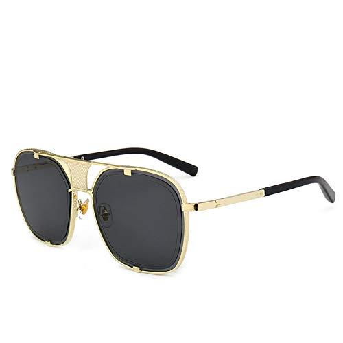 YANPAN Moda Personalidad Garra Gafas De Sol Hombre Metal Tendencia Calle Gafas De Sol Retro C1 Marco Dorado Película Gris