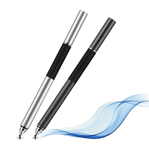 Yizhet 2 PCS 2in1 Eingabestift Stylus Stift Touch Pen für iPhone iPad Samsung Galaxy und alle Smartphone Handy Tablet mit kapazitiven Touchscreen (2 PCS Metall 2in1)