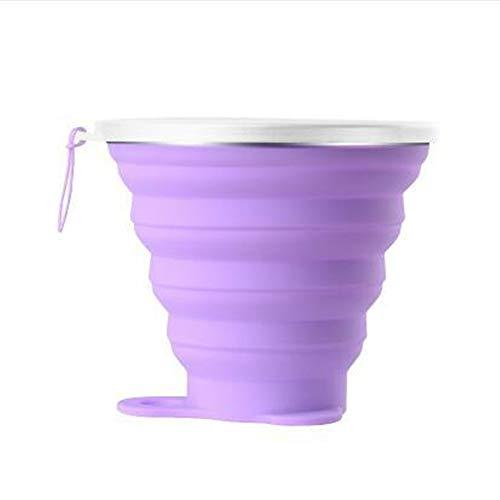 Innovatieve Koffie Cup Outdoor Sport Telescopische Fles Reizen Draagbare Vouwfles Met Deksel Rietje 350 Ml Inklapbare Koffie Beker Outdoor Camping Wandelen (Purple)