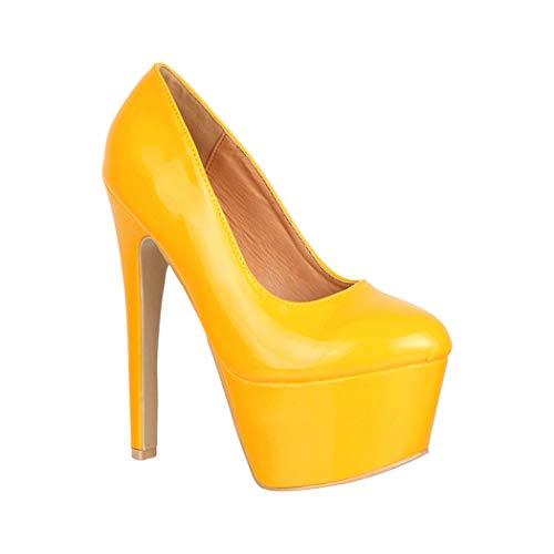 Elara Damen Pumps High Heels Chunkyrayan QM007 Yellow-39