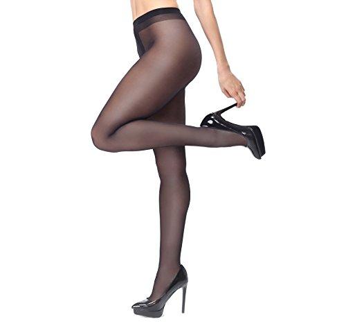 Miss O Ouvert Strumpfhose 40den glänzend mit offenem Schritt (Black, XXL)