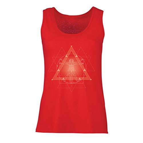 lepni.me Camisetas sin Mangas para Mujer Divino Hombre de Vitruvio Leonardo Da Vinci Geometría Sagrada