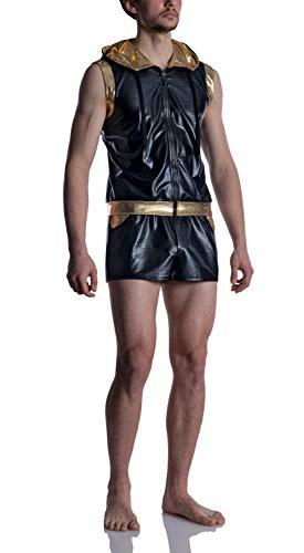 MANstore M2011 Zipped Hoody - Sudadera con capucha (tejido ligero, acabado brillante, colección limitada) negro S